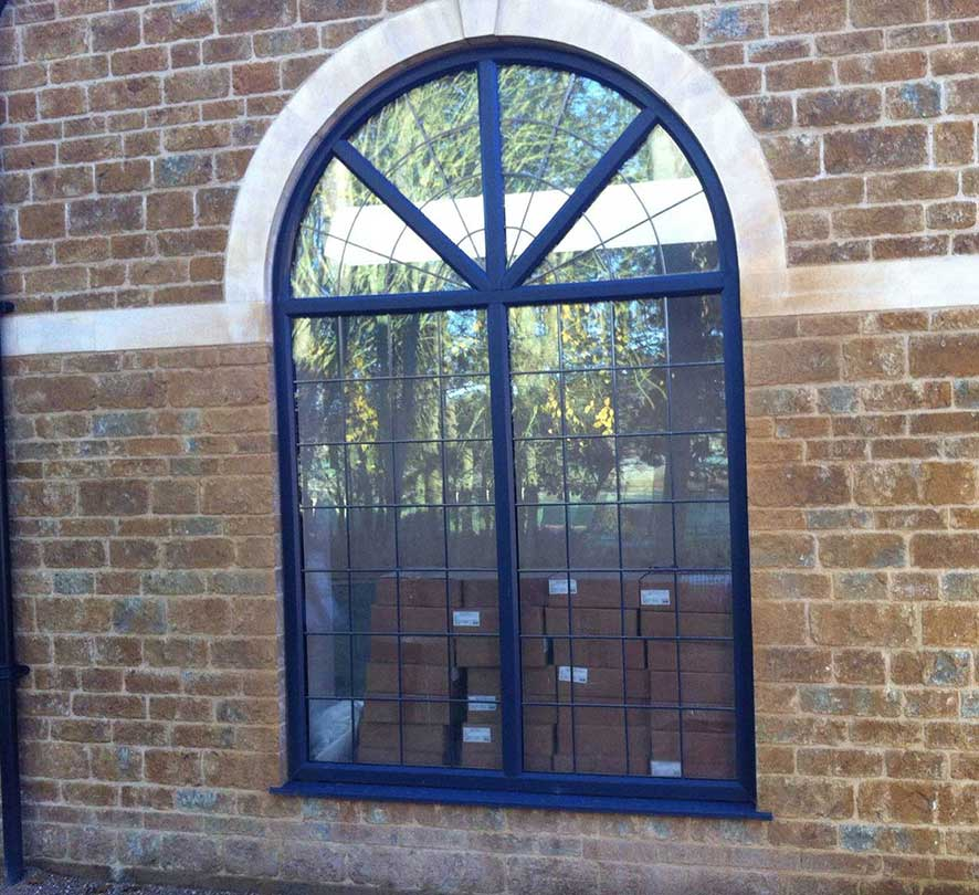 blue rounded window arch